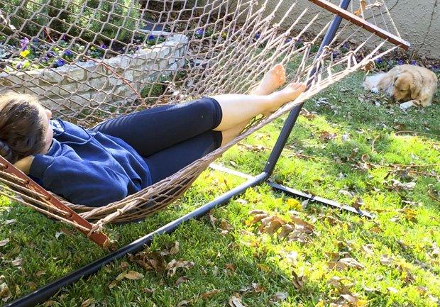 Sarah on hammock
