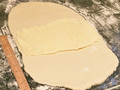 Photo 4. Place pounded butter in center of dough.