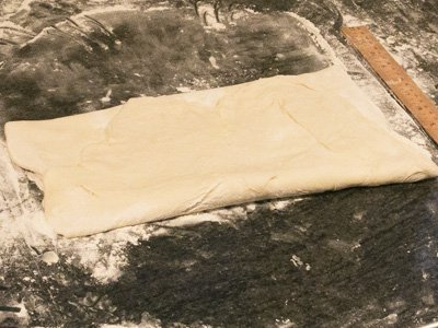 Photo 6. Fold bottom third of dough up.